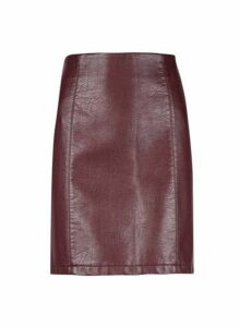 Womens **Tall Burgundy Pu Mini Skirt- Purple, Purple