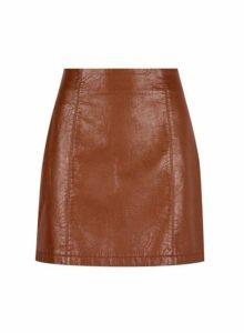 Womens Petite Tan Seam Detail Mini Skirt - Brown, Brown
