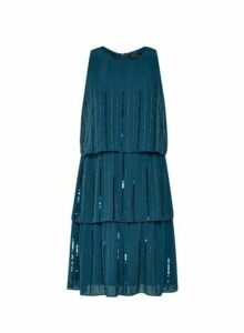 Womens **Showcase Forest Green 'Joanie' Tiered Trapeze Dress, Green