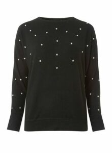 Womens Black Bling Batwing Top- Black, Black