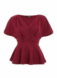 Womens *Quiz Berry Wrap Batwing Peplum Top - Red, Red