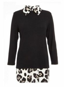 Womens *Quiz Leopard Print Shirt Knit Top- Black, Black