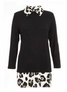 Womens *Quiz Leopard Print Shirt Knit Top - Black, Black