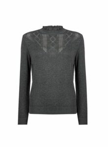 Womens Grey Pointelle Ruffle Jumper- Grey, Grey