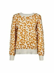Womens Yellow Leopard Print Jumper - Orange, Orange