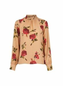 Womens Camel Floral Print Shirred Neck Top- White, White
