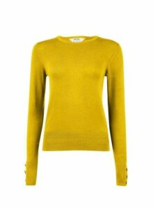 Womens Petite Chartreuse Button Cuff Jumper - Green, Green