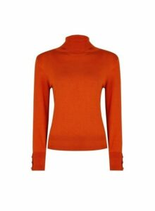 Womens Petite Red Button Cuff Roll Neck Jumper- Red, Red