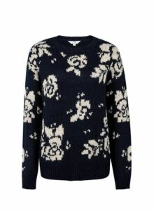 Womens Tall Navy Floral Print Jumper - Blue, Blue