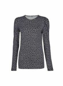 Womens **Tall Black Polka Dot Print Puff Top, Black