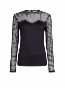 Womens **Tall Black Spot Mesh Flock Top- Black, Black