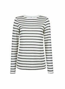 Womens **Tall Ivory Stripe Print Crew Neck Top- Ivory, Ivory