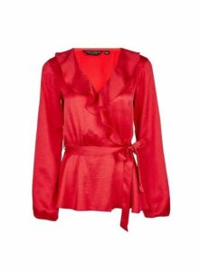 Womens Red Ruffle Wrap Top- Red, Red