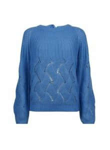 Womens **Vila Blue Balloon Sleeve Jumper, Blue