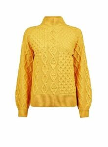 Womens Yellow High Neck Cable Jumper - Orange, Orange