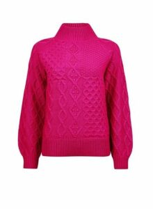 Womens Pink High Neck Cable Jumper, Pink