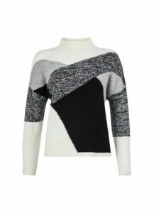 Womens Monochrome Block Pattern Knitted Jumper- Grey, Grey