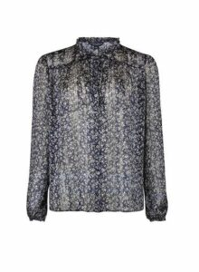 Womens Navy Floral Print Blouse- Blue, Blue