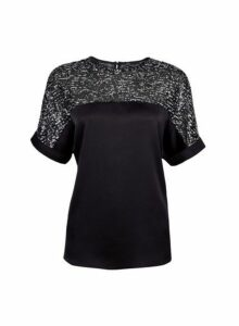 Womens Black Shimmer Batwing Top- Black, Black