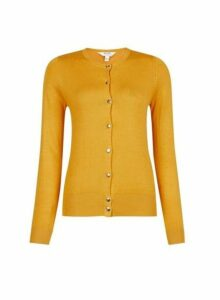 Womens Petite Yellow And Gold Button Cardigan- Orange, Orange