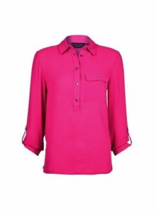 Womens Pink Collar Roll Sleeve Shirt- Pink, Pink