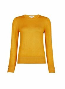 Womens Petite Yellow Button Detail Jumper - Orange, Orange