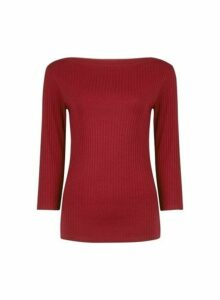 Womens Organic Berry Ribbed Boat Neck Cotton T-Shirt- Red, Red