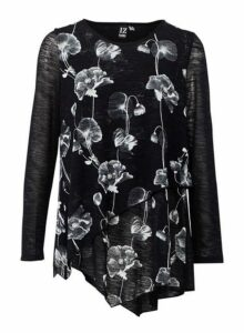 Womens Izabel London Black Floral Print Asymmetric Top, Black