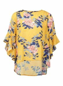Womens *Izabel London Yellow Frill Sleeve Blouse, Yellow