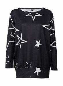 Womens *Izabel London Navy Star Print Jumper- Blue, Blue