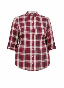 Womens **Dp Curve Red Check Print Shirt, Red