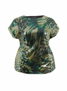 Womens **Dp Curve Green Sequin Tee, Green