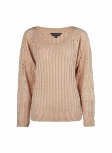 Womens Cream V-Neck Cable Jumper- Pink, Pink