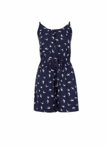 Womens Navy Button Through Playsuit- Blue, Blue