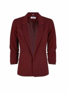 Womens Petite Damson Ruched Sleeve Jacket- Red, Red