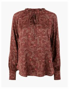 M&S Collection Satin Printed Popover Blouse