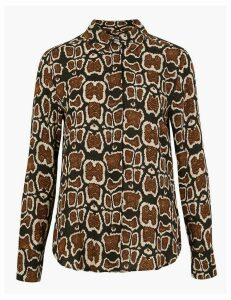 M&S Collection Animal Print Button Detail Shirt
