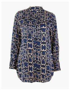 M&S Collection Satin Animal Print Longline Shirt