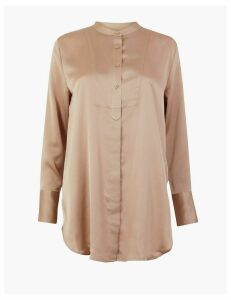 M&S Collection Satin Bib Longline Shirt