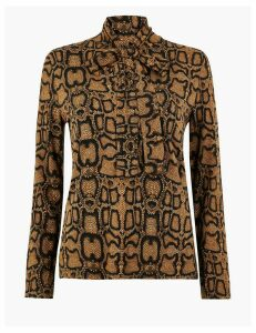 M&S Collection Snake Print Bow Detail Top