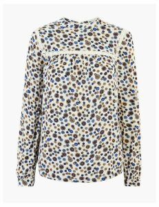 M&S Collection Floral Print Lace Insert Shell Top