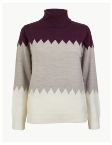 M&S Collection Cashmilon Colour Block Roll Neck Jumper