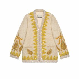 Mohair knit jacket with paisley embroidery