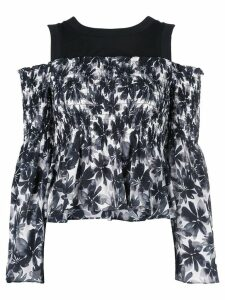 Nicole Miller painted flowers blouse - Black