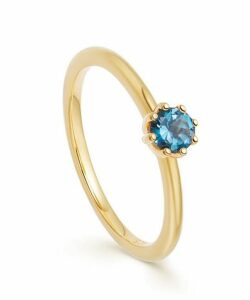 Gold Vermeil Mini Linia London Blue Topaz Ring