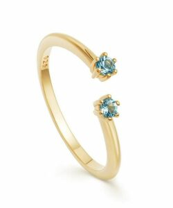 Gold Vermeil Linia London Blue Topaz Open Ring
