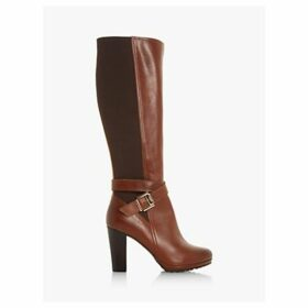 Dune Sebby High Block Heel Leather Knee Boots, Tan