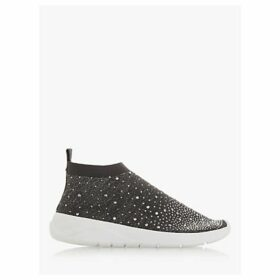 Dune Emerald Embellished Sock Trainers, Grey