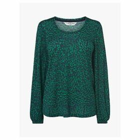 L.K.Bennett Jack Animal Print Blouse, Green