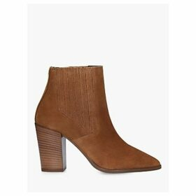 Carvela Sizzle Suede Block Heel Ankle Boots, Brown Tan